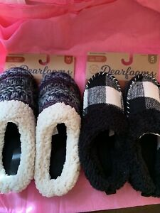 Dearfoams-Women-s-Black-amp-White-Or-Blue-amp-Purple-Slippers-House-Shoe-Small-Or-Md
