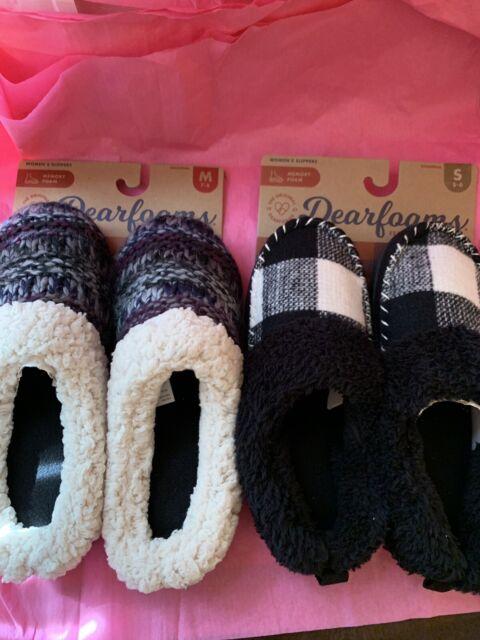 Dearfoams Women's Black & White Or Blue & Purple Slippers House Shoe Small Or Md