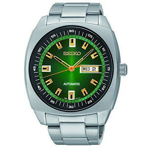 New-Seiko-SNKM97-Recraft-Green-Dial-Stainless-Steel-Automatic-Men-039-s-Watch