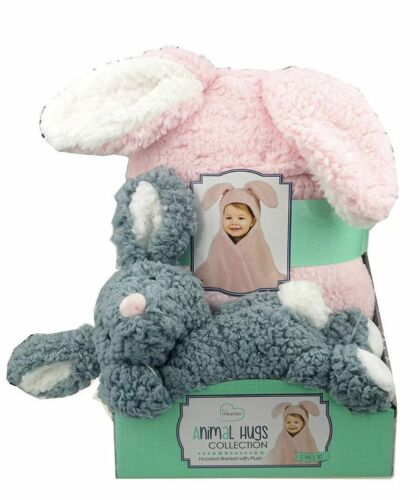 new Little Miracles Animal Hugs Collection Hooded Blanket 2pc Rabbit o//b