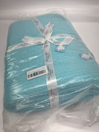 Aqua Color Waffle Weave Design by Tex Trend Tirquo Cotton Blanket Queen Size
