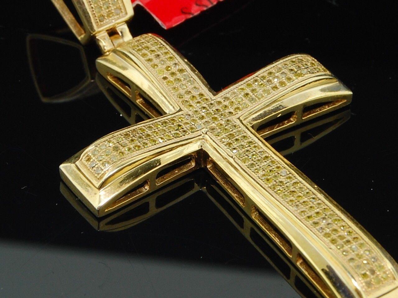 Da Uomo argentoo Sterling a a a Pavé .65ct Diamante Giallo Gesù Testa Ciondolo Croce 199c11