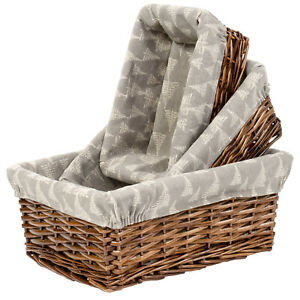 Multi-Purpose Rectangular Nesting Wicker Storage Basket with Liners, Set of 3
