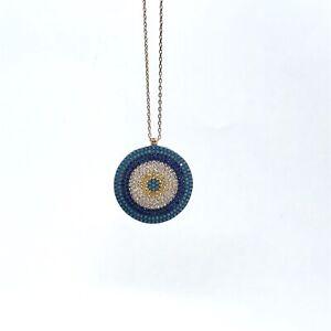 NEW-925-Rose-Gold-Plated-Pave-Set-CZ-Turquoise-Nazar-Evil-Eye-Necklace-42cm-45cm