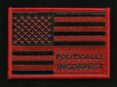 I'M POLITICALLY INCORRECT TRUMP FOR AMERICA FLAG BIKER MORALE PATCH RED