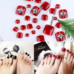 Manicure-French-Style-False-Nails-with-Glue-Foot-Fake-Toes-Nails-Rhinestone