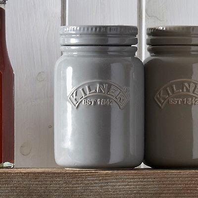 Kilner Ceramic Stoneware Storage Jar Embossed Logo Airtight Lid Tea Coffee Sugar