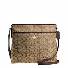 New Coach F55363 Signature Canvas File Bag Crossbody Handbag Khaki Brown $195