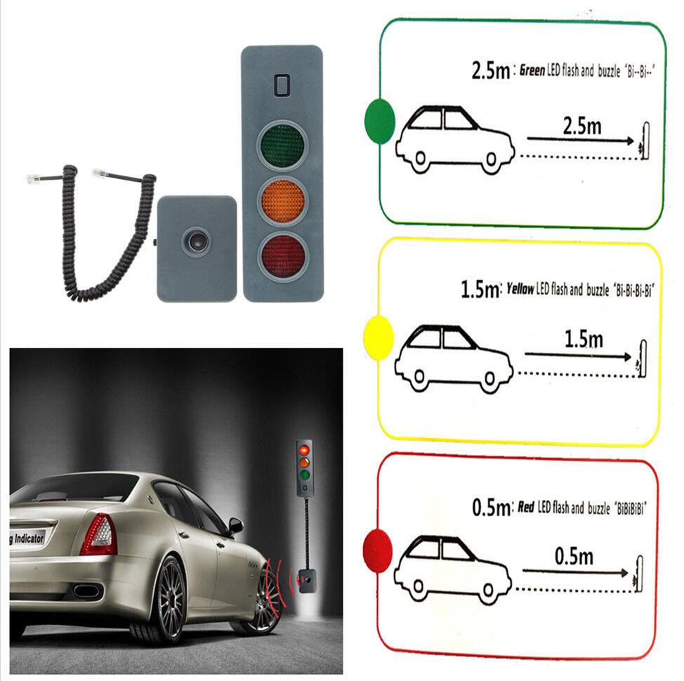 Universal Three Color Reversing Light Home Garage Car Parking System Reverse Backup Assist Help Sensor Stop Light Easy Installation LED Parking Tips /& Parking Sound Tips