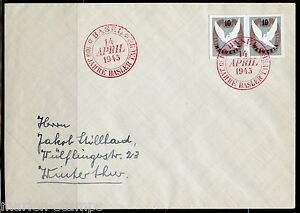 SWITZERLAND-MICHEL-BL12-IMPERF-PAIR-FROM-BASEL-DOVE-S-S-FIRST-DAY-COVER