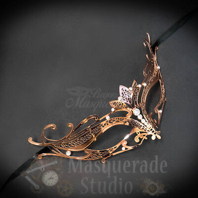 Womens Majestic Lotus Laser-Cut Filigree Metal Venetian Masquerade Mask Silver