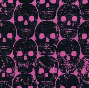 Michael-Miller-Gothic-Black-Numb-Skulls-on-Hot-Pink-Cotton-Fabric-FQ