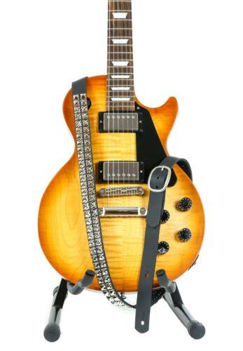"1 1//4/"" Wide Double 1//2/"" Nickel Pyramid Stud Black Cowhide Leather Buckle Guitar"