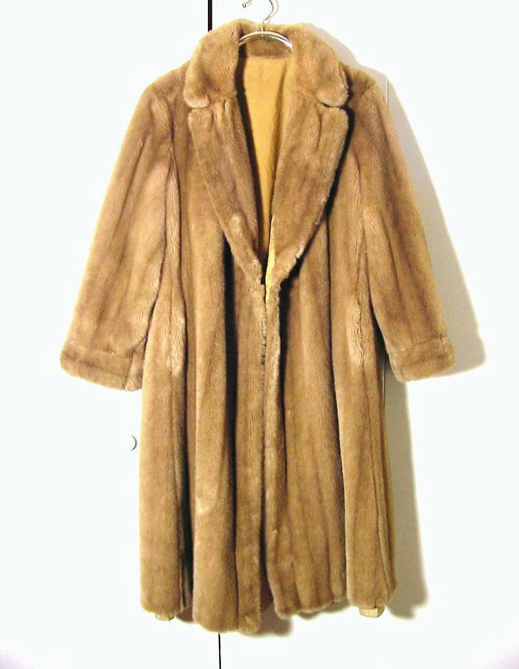 Vtg Light Beige Long Faux Mink Coat Handmade Sz L