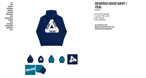 Palace Hood Hoodie Reverso in Triferg S Reversible Size Small Hand UUOPqaHwx
