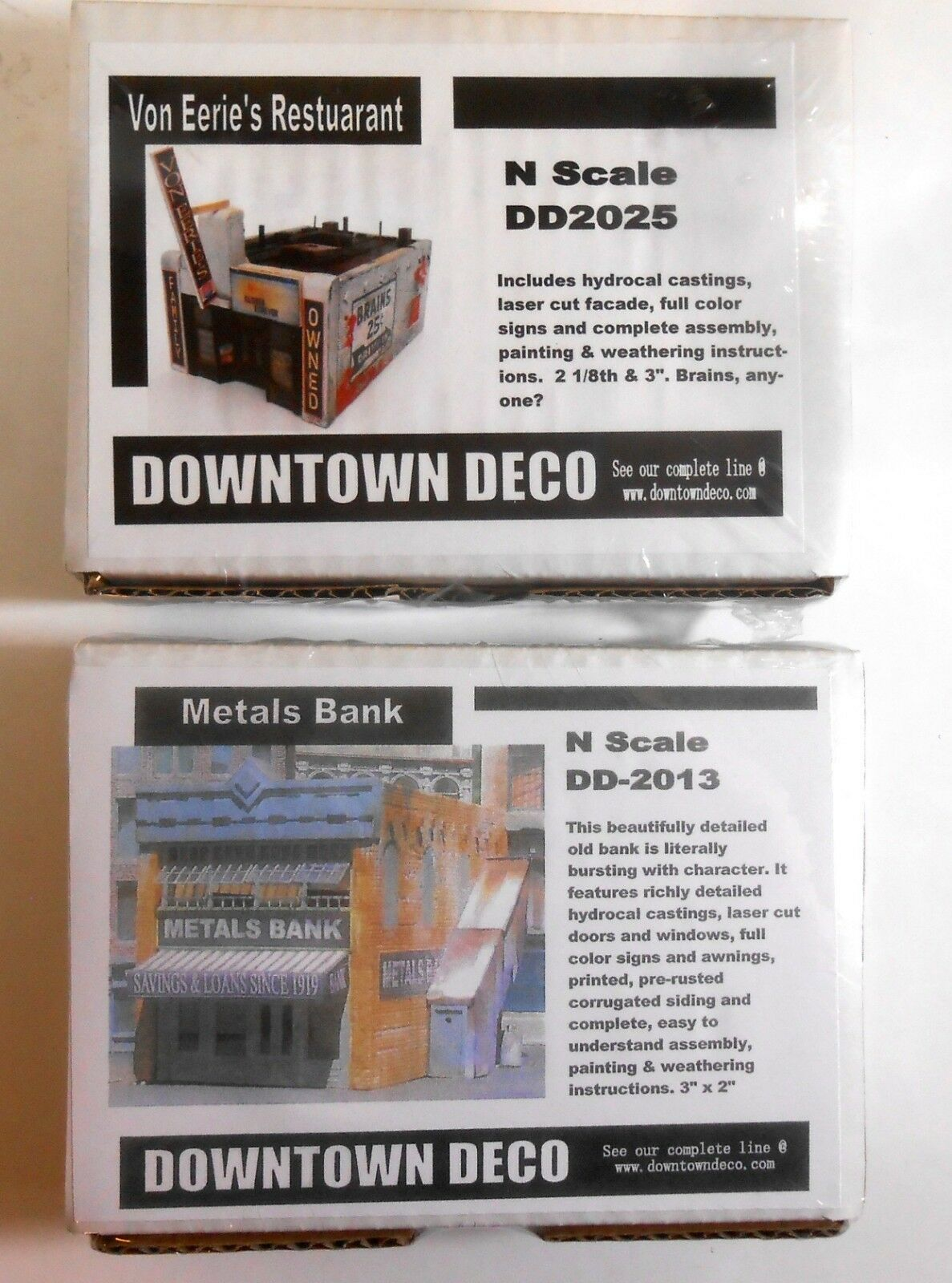 Downtown Deco N Scale 2 Building Kit Set Save  20 Great Detail & Graphics