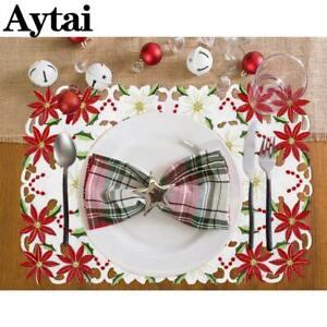 2-un-Mesa-De-Navidad-Bordado-Poinsettia-manteles-con-acebo-fiesta-decoracion