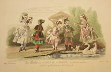 "Spanish Fashion - ""LA MODA Del Correo De Ultramar - Four (4) Girls & Boy - 1873"