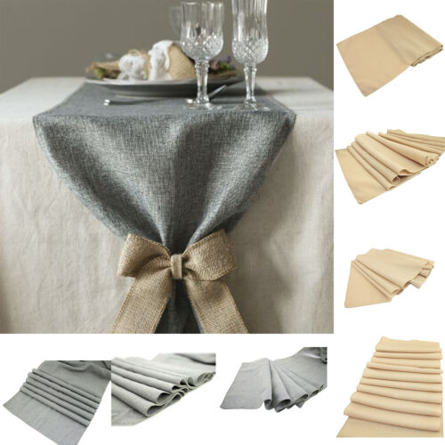 3 Size 2 Color Retro Linen Burlap Jute Table Runner Wedding Event Table by Unbranded