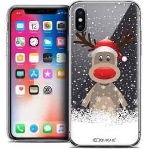 Coque-Crystal-Gel-Pour-iPhone-X-10-Extra-Fine-Souple-Noel-2017-Cerf-au-Bonnet