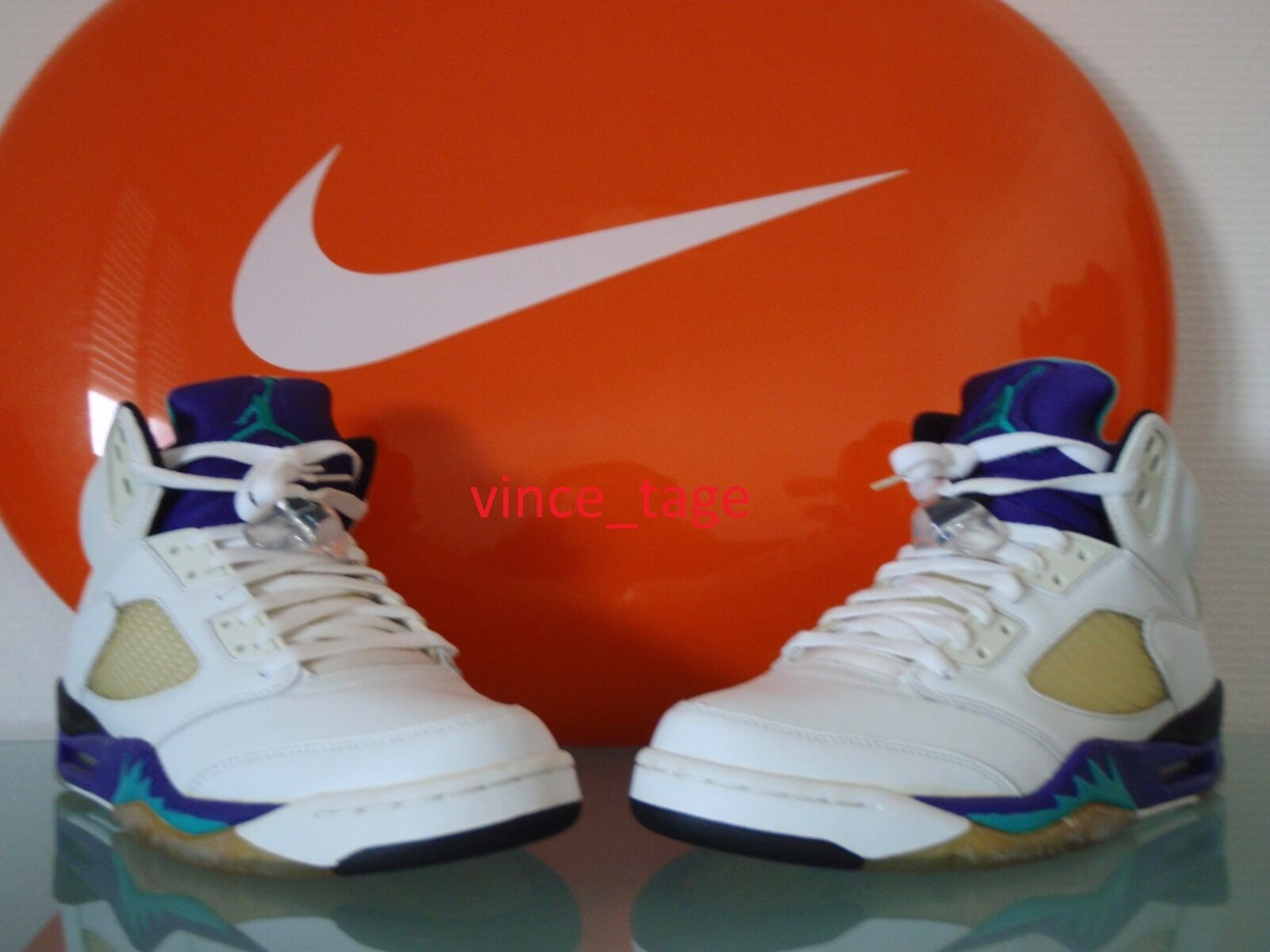 New 2006 Nike Air Jordan V 5 Retro LS blanc EMERALD GRAPE ICE 10 US 44 EUR 6 4 3