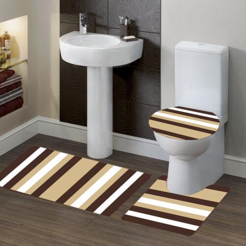 3PC Bathroom Bath Mat Contour Rug Set /& Lid Cover Design #7 Stripe Brown