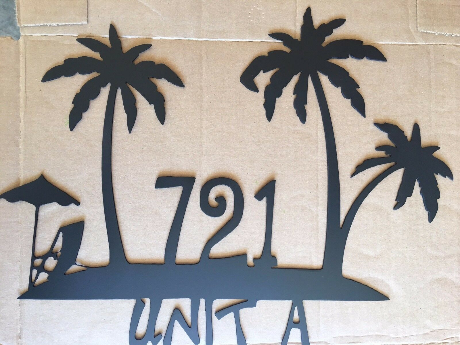 House Number Plaque, Metal Sign, Condo, Address Sign, Beach  4