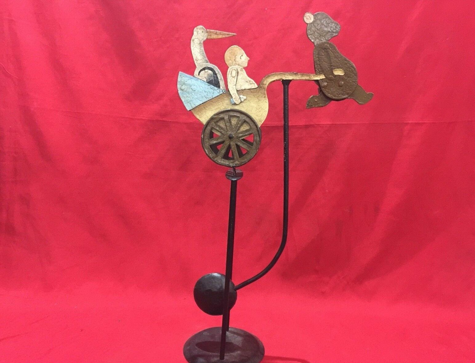 ANTIQUE VINTAGE METALLIC BALANCE TOY BABY BEAR PELICAN CHARIOT BIBERON HAND MADE