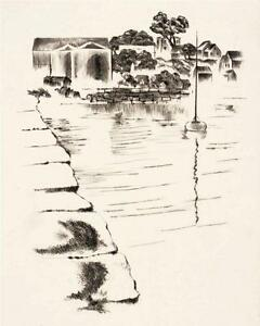 Louis Lozowick Signed Drypoint Print Vacation Country, LE 25,WPA Artist,Sailboat
