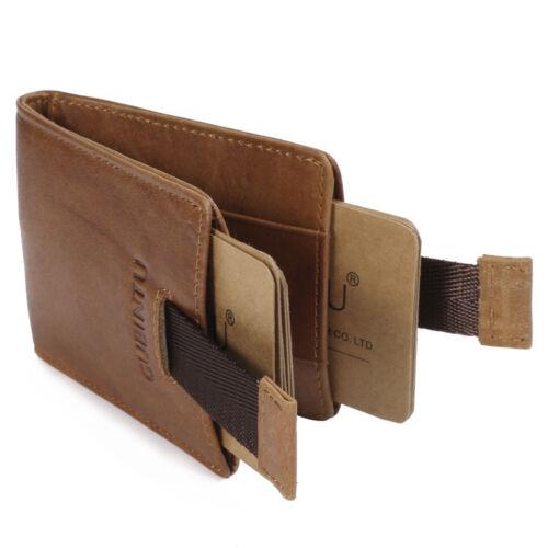 RFID Quality Men Genuine Leather Mini Bifold Wallet Slim Credit ID Card Holder