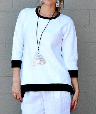 MARGARET WINTERS CC221T Coton Tricot Queue de Poisson Haut Pull 1X 2X 3X Noir//Blanc