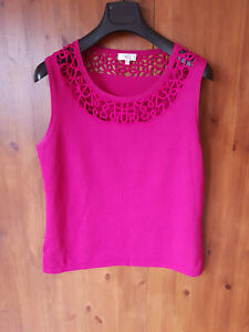 CC-COUNTRY-CASUALS-VEST-TOP-Fuchsia-Pink-Knit-Tank-Top-Crochet-L-UK-14-16-NEW
