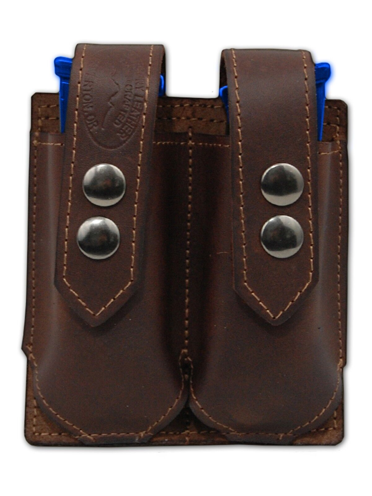 NEW Barsony Brown Leather Double Magazine Pouch Steyr Walther Full Size 9mm 40
