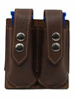 Barsony Brown Leather Double Magazine Pouch Steyr Walther Full Size 9mm 40
