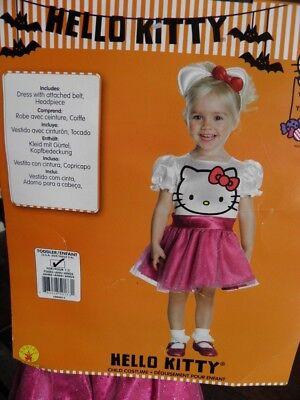 NWT TODDLER HELLO KITTY COSTUME 2-4 DRESS-UP HEADBAND TUTU SPARKLE PINK CAT