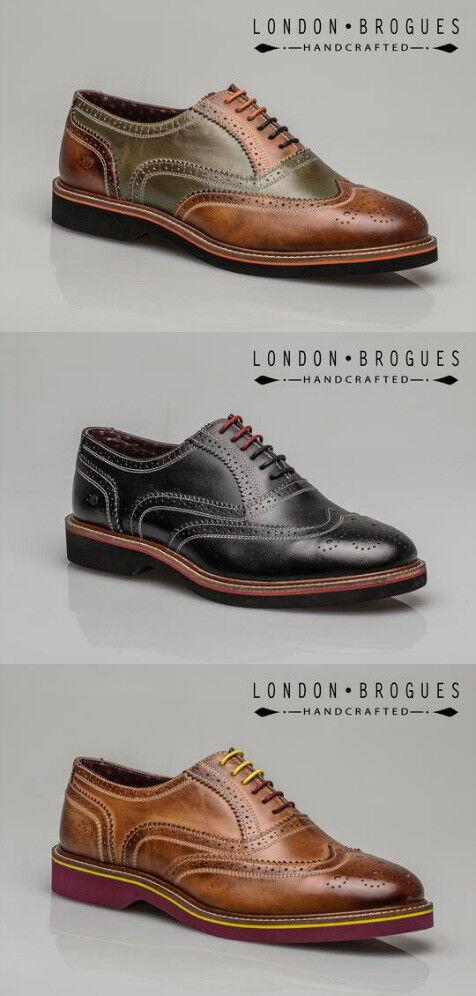 London Brogues Albert Mens Leather Wingtip Formal Casual Shoe