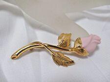 Vintage AVON Pink Porcelain Rose Gold Stem Leaves Brooch Pin