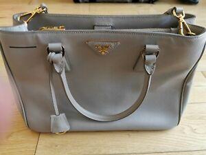 Details about Authentic Prada Saffiano Lux Medium Grey Gray Handbag With Strap