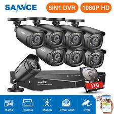 SANNCE 5in1 8CH 1080N DVR CCTV Home 1080P 2MP 3000TVL Security Camera System 1TB
