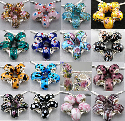 5pcs Murano Glass Lampwork Beads Findings Fit Charms European Chain Bracelet