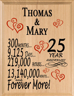 Personalized 25 Year Anniversary Gift Maple Wood 25th Year For Her Him Or Couple Ebay