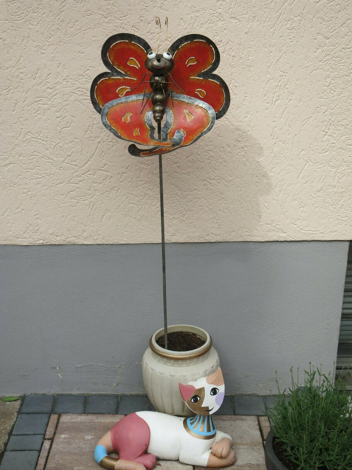 Enchufe para jardín, mariposa L, negro-naranja, altura 132 CM, metal personaje, 5141,