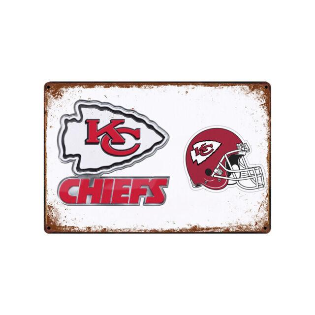 Kansas City Chiefs Tin Metal Sign Rustic Advertising Wall Art decor