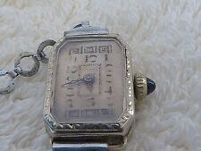 SWISS CYMA LADIES ANTIQUE SOLID 14 KARAT WHITE GOLD SAPHIRE BEAUTIFUL CASE WATCH