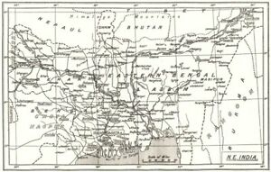 Frank India Ne; Spg Mission Stations- Cms- Oxford Calcutta 1922 Old Map Utmost In Convenience kolkata