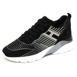 F7090 sneaker donna black/silver HOGAN ACTIVE ONE H385 glitter ...