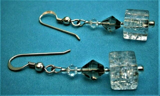 D897*) A Lovely pair of clear crackle glass bead earrings with 925 silver hooks