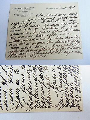: Eh Briefkarte Lausaunne 1918 Signiert Bequem Zu Kochen Billiger Preis Arthur Grandjean mission Romande