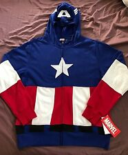 Marvel Captain America Men Hoodie Zip-Up Sweatshirt Costume Size XL - NEW