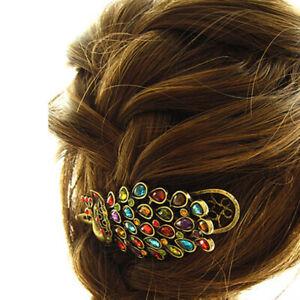 Retro-Vintage-Peacock-Crystal-Hairpin-Hair-Clip-Pin-Barrette-Head-Women-Jewelry
